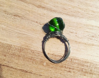Green Stoned Wire Wrapped Ring