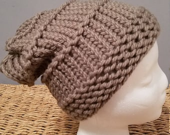 Knit Winter Hat in a Slouchy Style