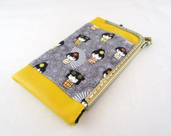 phone case, pouch smartphone with metal frame yellow leatherette and fabric kokeshi