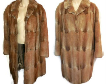 Vintage Fur Coat 1960s Blonde Muskrat Fur Coat Bisam Musquash Gorgeous Pelts Beautiful Patterns Coloring Boho Deer Print Satin Lining L