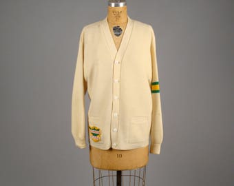 "1960s  Overwaitea Foods letterman sweater • vintage 60s varsity cardigan •  ""Pride of the West"" uniform knitwear"