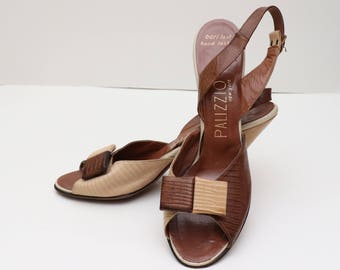 Vintage 1970s womens Palizzio brown and cream alligator slingbacks