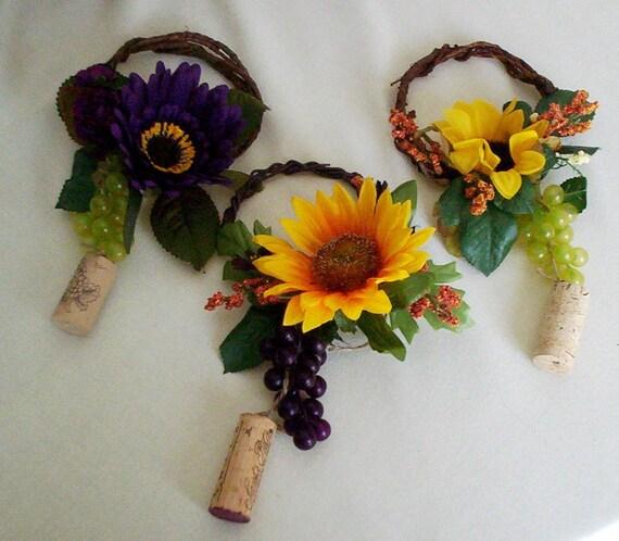 Sunflower wine bottle toppers yellow purple wedding