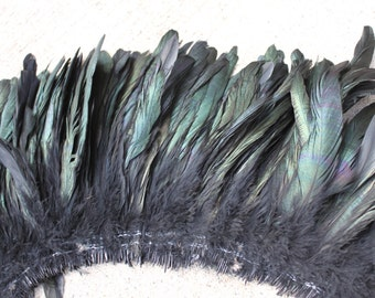 Black coque feathers, 5-8 inch length, chicken feathers, black iridescent