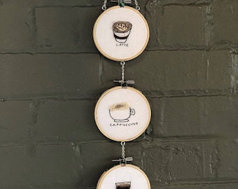 3 Cups Embroidered Coffee Art