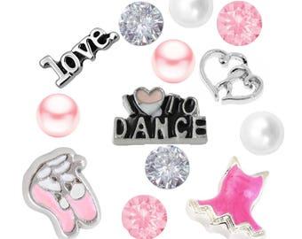 Dance Theme Floating Charm W/Czech Crystals