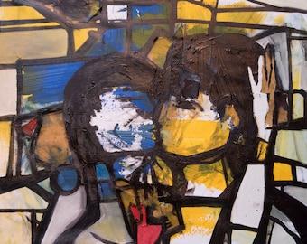 Fine art, Original painting, Contemporary art, Figurative, Love, Couple, The kiss