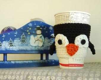 Penguin Coffee Cozy, Cute Penguin Ceocheted, Winter Themed Cozy, Animal Coffee Cozy, Penguin Cozies, Penguins for Cup, Crochet Penguins