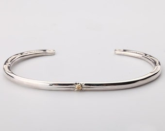 Thin Silver Bangle   Open Silver Bangle   Silver and Gold Bangle   Cuff Bracelet for Her   Tribal Silver Bracelet   Engraved Silver Bangle