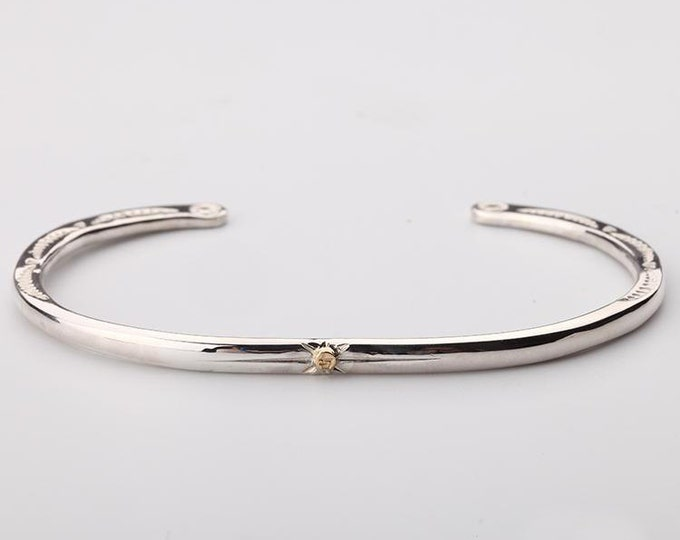 Thin Silver Bangle | Open Silver Bangle | Silver and Gold Bangle | Cuff Bracelet for Her | Tribal Silver Bracelet | Engraved Silver Bangle