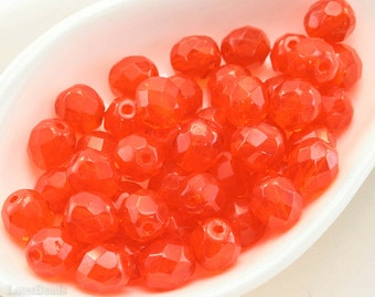 Orange Faceted Beads, Fire Polished Czech Glass, 8mm Round (20) last