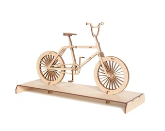3d Puzzle Laser Cut, DIY Gift, Gift For Cyclist, Bike Lover Wooden Miniature BMX Bicycle, Desk Accessory, Diy Model Kit, Lasercut MDF 3d Art