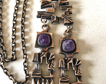 Vintage Finland Bronze Pentti Sarpaneva Amethyst Necklace ON SALE