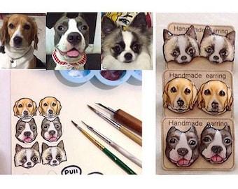 CUSTOM PET PORTRAIT Pet Stud Earrings Custom Pet Earrings Cat Dog Animal Earrings Custom Earrings Resin Earrings Gift Idea Custom Jewelry