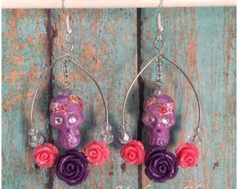 Day of the Dead Dia De Los Muertos Skull and Roses Earrings
