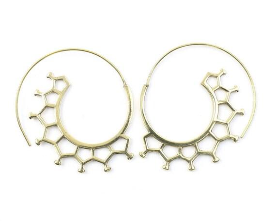 Molecule Spiral Earrings, Geometric Earrings, Tribal Brass Earrings, Festival Jewelry, Gypsy Earrings, Ethnic, Yoga Earrings