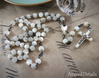 Vintage Mother of Pearl Rosary (1)