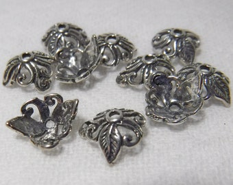10 - 8 mm Sterling Silver Bali Bead Caps Swirl and Leaves