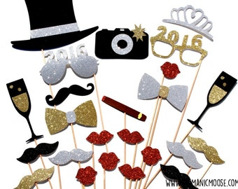 2016 New Years Eve Photo Booth Props DELUXE EDITION - Silver and Gold - New Years Party Props - set of 24 - GLITTER photo props