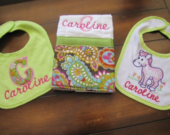 Two Custom Embroidered Coordinating Baby Bibs and Burp Cloth