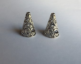2 Sterling Silver One of its kind multi strands pendant filigree end cap cone beads
