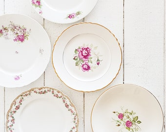 Floral Dinner Plates Mismatched China Plates, Mismatched Plates Set, Antique French Dinnerware Set, French Vintage Dishes Flower Plates Set