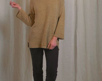 90s elongated knit sweater / bell sleeves / boat neck knit / side slits / 1990s oversize knit / small medium large