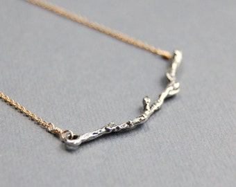Delicate Branch Necklace, Mixed Metal, Gold Filled and Sterling Silver, Woodland