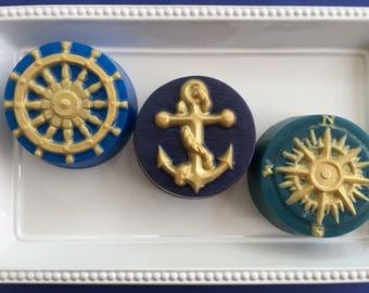 Nautical Soap - Anchor - Ship Wheel - Compass - Beach Soap - Beach Wedding - Beach Shower - Nautical Soap Favor - Military Soap - Ocean Soap