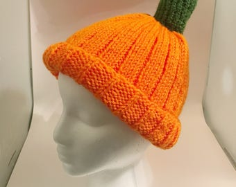 Hand Knit Pumpkin Hat - Fall/Winter/Harvest