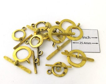 Antiqued Gold Metal Two Sizes Toggle Clasps, Sold per 10 pc, 1092-12