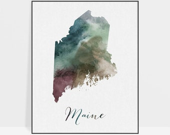Maine state map, Watercolor map, Wall art, Maine map poster, Maine state watercolor print, Travel, Gift, office decor, ArtPrintsVicky.