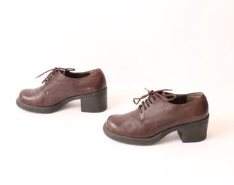 size 8 PLATFORM brown leather 80s 90s GRUNGE OXFORD lace up ankle boots