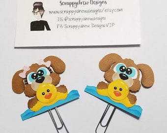 Floating Puppy  planner clip/ book mark/ planner accessory