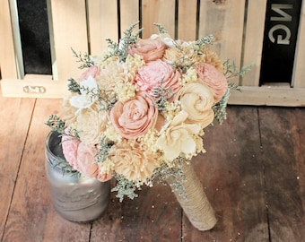 Handmade Alternative Wedding Bouquet - Ivory Blush Nude Bridal Bridesmaid Bouquet, Sola Flower, Natural Bouquet, Keepsake Bouquet