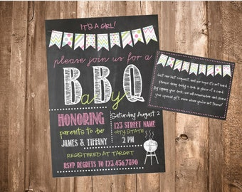 Printable BBQ Baby Shower Invite-Chalkboard BBQ Invitation-It's A Girl-Book Instead of Card