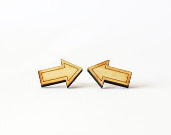 Arrow Stud Earrings - Wooden Arrow Earrings