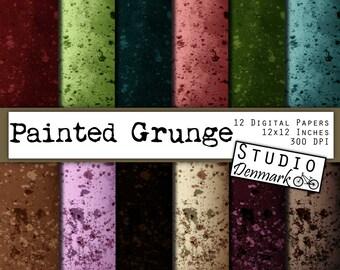 "Paint Splatters Digital Paper - ""Painted Grunge"" - 12 Papers - 12in x 12in - jpg 300dpi - Instant Download"