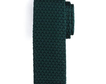 Deep Green Silk Knit Tie, Men's Necktie, Knitted Necktie, Casual Necktie, Green Necktie, Groomsmen Necktie, Wedding Necktie