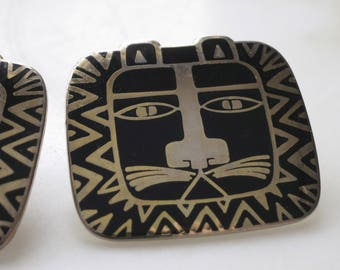 Laurel Burch Earrings - Cat Spirit - silver and black - post style