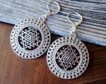 Sri Yantra Meditation Dangle Earrings.Yoga Earrings.Spiritual.Inspirational.Namaste.Meditation.Statement.Flower of Life.Chakra.Handmade.