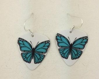 Guitar Pick Blue Butterfly earrings