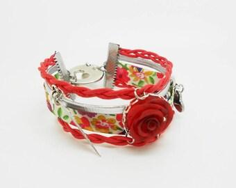 multiple red rose floral bracelet cold porcelain
