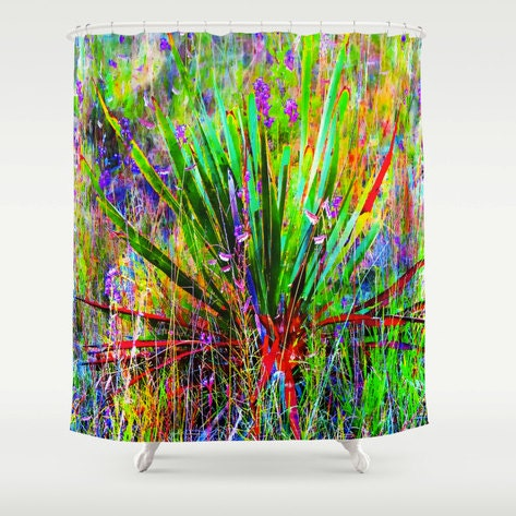 Shower Curtain Agave Yucca Texas Wildflower