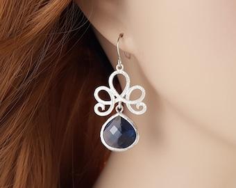 Blue Crystal Dangle Earrings - Sapphire Earrings Teardrop - Crystal Drop Earring - Matte Silver Earring - Dark Blue Bridesmaid Jewelry E2070