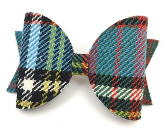 N Clans Tartan hair bow - Scottish clan tartans - N surnames - wool red blue check tartan - Nicolson Nisbet Napier