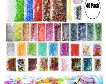 Slime Supplies Slime Kits 40 Packs Crunchy Slime Peal Foam Balls Fishbowl Beads Glitter Slime Tools for Slime Making Art DIY Craft