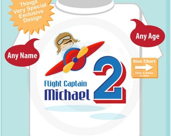 2 year old Plane Pilot, Boy's Personalized Airplane Pilot Birthday Shirt or Onesie Personalized with childs name and age 07182018a