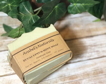 Eucalyptus Mint Soap - Essential Oil Soap - Party Favors -  Natural Vegan Soap - French Green Clay Soap  -  Handmade Soap - Homemade Soap