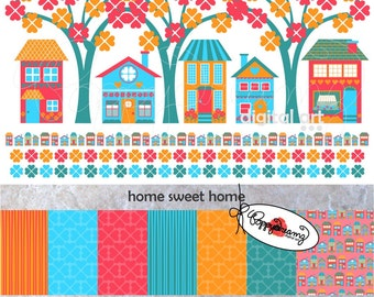 Home Sweet Home Paper and Elements SET: Digital Scrapbook Paper Pack (300 dpi) Home House Neighborhood Tree